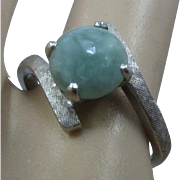 14K White Gold Jade Cabochon By-Pass Ring Sz 6