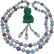 Carved Jade Cat Agate Amethyst Quartz Beads Necklace 29""