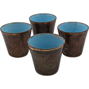 Set 4 Jade Snow Wong Copper Enamel Cups 1949