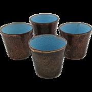 Set 4 Jade Snow Wong Copper Enamel Cups 1949 - Red Tag Sale Item