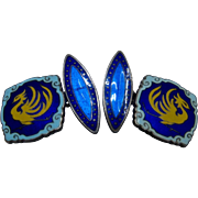 Ca 1920s Japanese Sterling Enameled Cloisonne Cufflinks Phoenix Signed