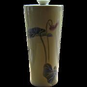 Japanese Arita Porcelain HP Vase Meiping Form Caladium Leaves Signed