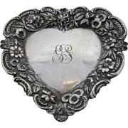 Jenkins & Jenkins Sterling Repousse Heart-Shaped Dish Tray