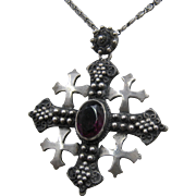 Vintage 935 Sterling Jerusalem Cross Pendant Necklace Amethyst Glass