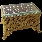 Ca 1900 Gilt Metal Beveled Glass Jewelry Casket Royal Mfg Co