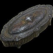 Ca 1900 Jewelry Casket Box w/ Crusader Cross Velvet Lined