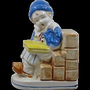 Ca 1930 KKS Dutch Boy Ceramic Book End
