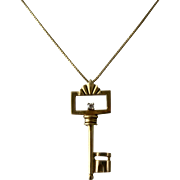 "14K Key w/ Diamond Pendant Necklace Signed 16"" Chain"