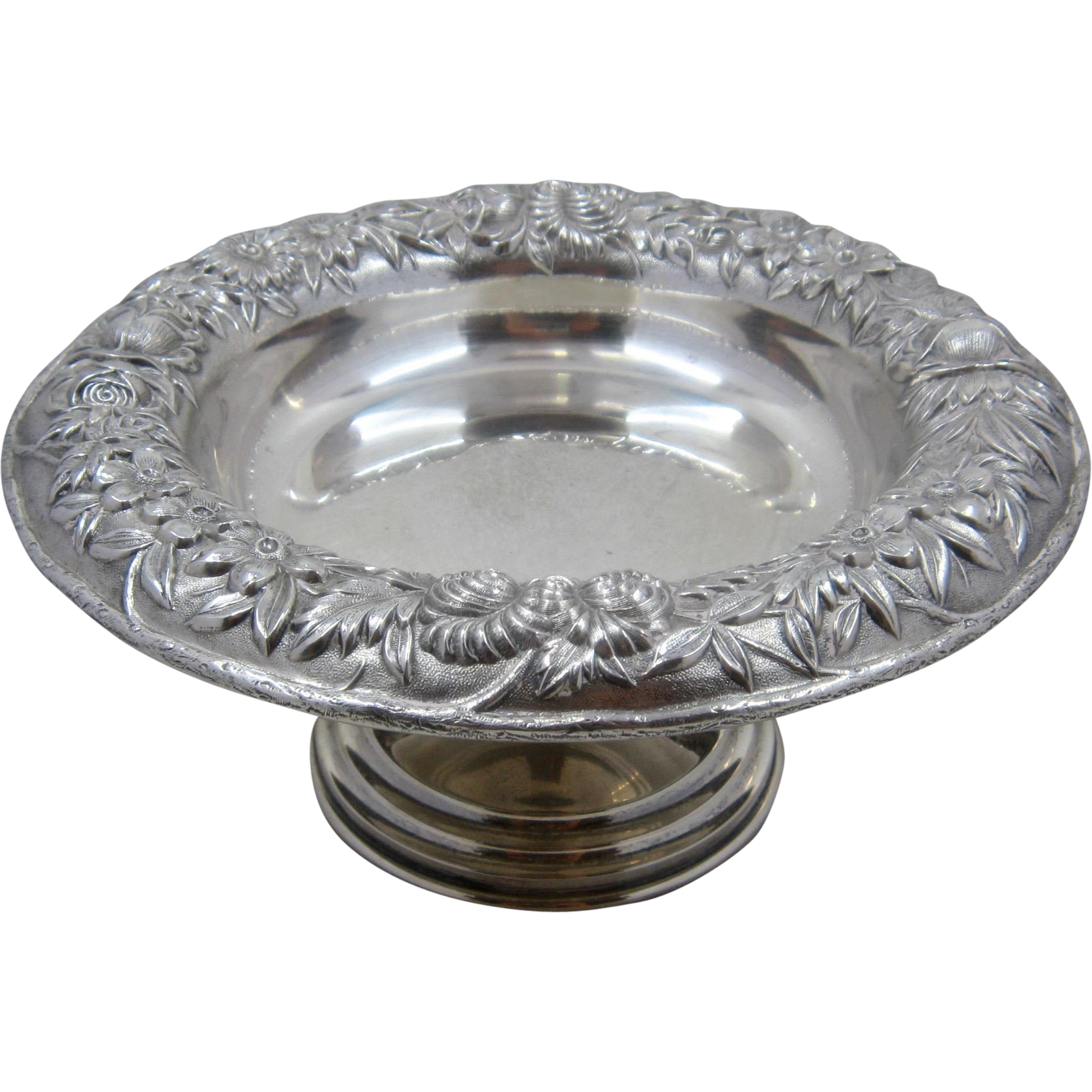 S. Kirk & Son Sterling Floral Repousse Compote Footed Bowl