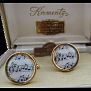 Krementz Rolled Gold Enamel Music Note Cuff Links in Case