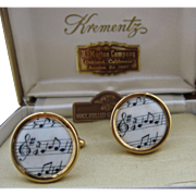 Krementz Rolled Gold Enamel Music Note Cuff Links in Case