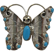 Beautiful Navajo Sterling Turquoise Butterfly Pin Louise Yazzie