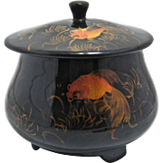 Mid 1900s Japan Lacquer Lidded Box w/ Koi Hand Painted Enamels