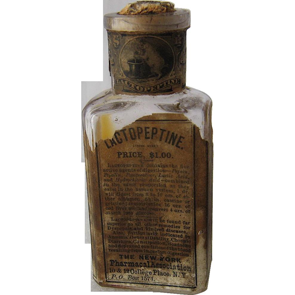 Ca 1900 Lactopeptine Medicine Bottle w/ Label Seal Cork : Mendocino Vintage    Ruby Lane