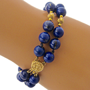 "14K Lapis Bead Bracelet Double Strand 7 1/4"""