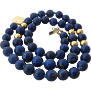 "14K Lapis & Gold Bead Necklace 18"" Long"