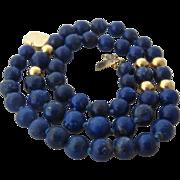 "14K Lapis & Gold Bead Necklace 18"" Long"