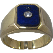 Italian 18K Lapis & Diamond Mens Ring 12.1 grams Sz 8.5