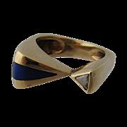 Modernist 14K Lapis Diamond Studio Ring Sz 7