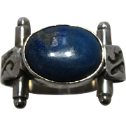 Modernist Southwestern Sterling Lapis cut Work Ring Sz 6 1/2