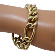 "Big Chunky 14K Figaro Link Bracelet AND Italy 15mm 8"" Long"