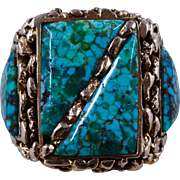 Zuni 14K Spiderweb Turquoise Ring Lee & Mary Sz 11