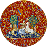 """Haviland Limoges Plate """"Lady & The Unicorn"""" 1978 Limited Edition Plate #2"""