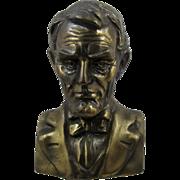 1930s Lincoln National Life Insurance Still Bank Bronze Patina