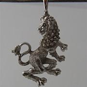10K White Gold Lion Rampant Pendant Fob Swivel Bail