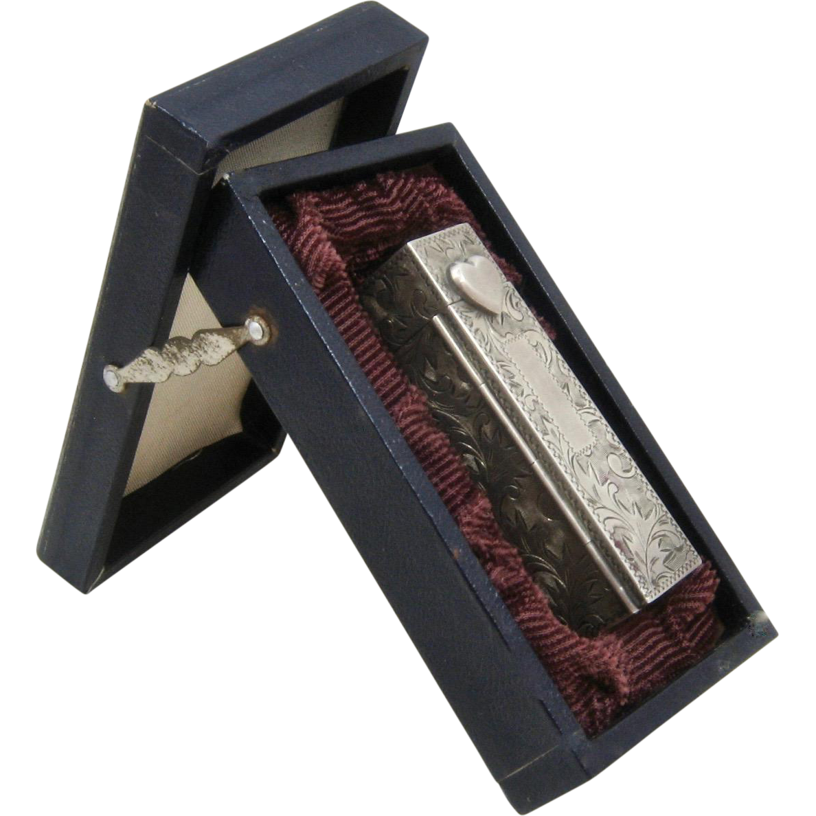 Vintage Hand Chased 950 Silver Lipstick Holder in Box
