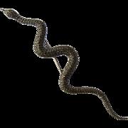 """Huge Long Sterling Snake w/ Marcasites Rubies Pin Brooch 7"""""""