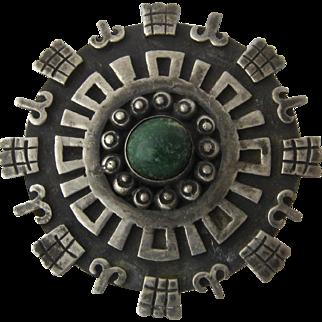 Vintage Los Ballesteros Sterling Aztec Medallion Pin Pendant