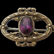 Ca 1900 Nouveau GF Amethyst Glass Watch Pin Chatelette