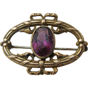 Ca 1900 Nouveau GF Amethyst Glass Watch Pin Chatelette