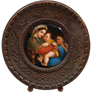 Miniature Painting on Porcelain of Raphael's Madonna Della Sedia late 1800s