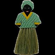 Ca 1940 Black Mammy Clothes Brush Whisk Painted Wood Folk Art
