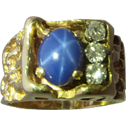 14K Naturalistic Mens Star Sapphire Diamonds Ring Size 8 1/4