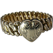 1940s Sweetheart Heart-Shaped Locket Bracelet by Marbro. - Red Tag Sale Item
