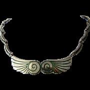 """Margot de Taxco Sterling Green Enamel Necklace Wings Spirals 15 1/2"""""""