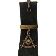 Late 1800s 14K Masons Watch Fob, Bars, Leather Ribbon
