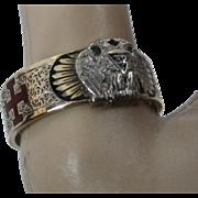 14K Masonic 32nd Degree Enamel Ring Scottish Rite Ca 1930 Sz 11 1/4