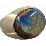 14K Mexican Matrix Fire Opal Mens Ring 13 Ct Sz 9 1/4