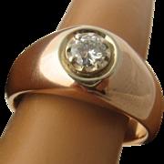 14K Rose Gold Diamond Mens Ring .4 Carat Size 10 3/4