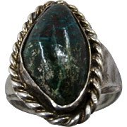 Vintage Navajo Men's Sterling Chrysocolla Ring Size 11.5