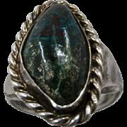 Vintage Navajo Men's Sterling Chrysocolla Ring Size 11.5