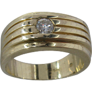 Deco-Style 14K  Wide Ring w/ .25 Carat Gypsy-Set Diamond Sz 9 1/4