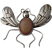 Big 1930s Mexican Silver Agate Fly Bee Pin Pre-Spratling Jewelry