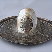 Large Mexican Silver Sombrero Tray w/ Aztec Calendar