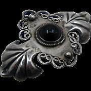 Ca 1940s Mexico Silver Onyx Cabochon Pin