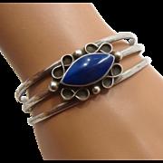 """Vintage Mexican Oxidized Sterling Lapis Cuff Bracelet Sz 7"""""""